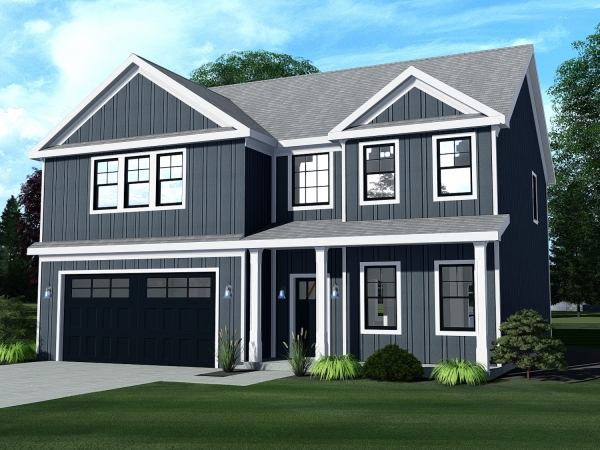 2 story home with lots of windows, front porch and 2 car garage