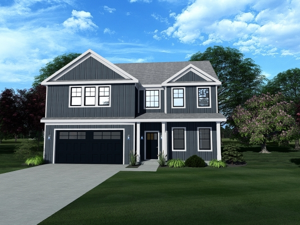 2 story home with front porch and 2 car garage