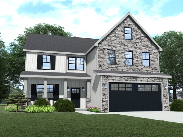 2 story home with front porch and 3 car garage