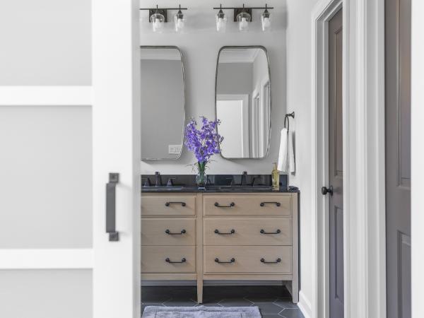 master bath vanity through doorway