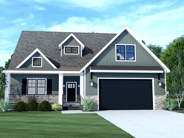 1 story ranch home with front porch and 2 car garage